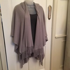 Cejon Drape Hooded Poncho Grey One Size